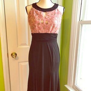Black And Pink Halter Dress